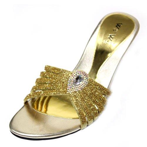 Wear & Walk UK , Sandales pour femme gold/maroon/pink/silver Or - doré