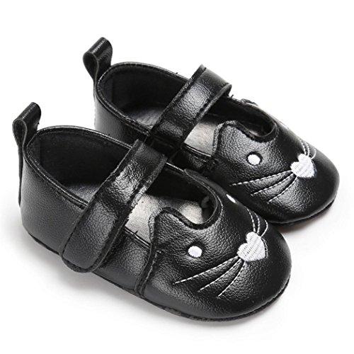 Igemy 1 Paar Säugling Neugeborene Kleinkind Baby Mädchen Katze Krippe Schuhe Soft Sole Anti-Rutsch Turnschuhe Schwarz
