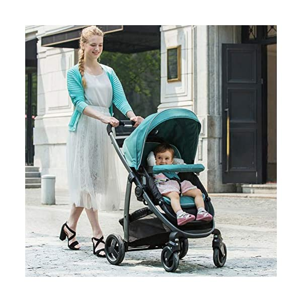 XUE Baby Stroller, Spacious High Landscape Trolley Shock Absorber Can Sit Reclining With Basket Travel System With Embrace XUE ∵ Wipeable and washable design for easier cleaning. ∵ Convertible high chair becomes booster and toddler seat. ∵ Keeps little ones secure with 3-point and 5-point harnesses. 3