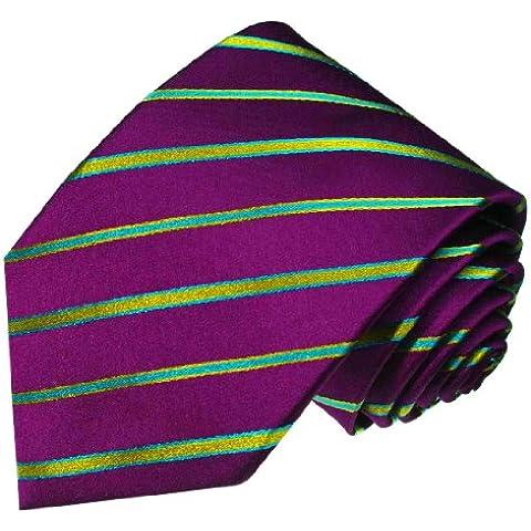 Lorenzo Cana–Lila Verde Diseño de Rayas Finas corbata de seda 100%–Binder turquesa