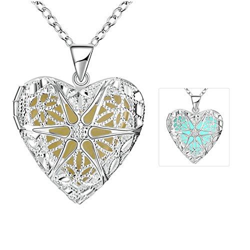 Damen leuchtende magische Halsketten Versilbert Hohlherzform Cyane Anhänger Halskette Leuchtend (Waffe In Anhänger Für Eine Fett)