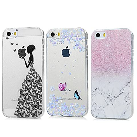 iPhone 5/5S Hülle Kasos iPhone SE Case Painted TPU Silikon Handyhülle Crystal Clear Schutzhülle Tasche Back Cover Handy Schale