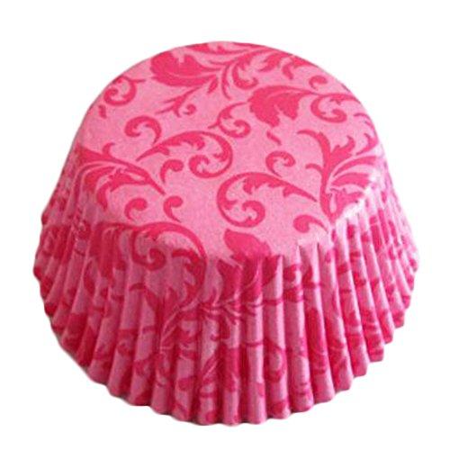 Blancho 500PCS Cuillères élégantes de papier de cuisson Coupe de petits gâteaux avec le modèle de feuille,Rose rouge