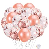 Pllieay 21 Pieces Rose Gold Confetti Balloons Set Including 5 Pieces Rose Gold Confetti Balloons, 5 Pieces Rose Gold, Pink, White Confetti Balloons, 10 Pieces Rose Gold Latex Balloons and 1 Roll Balloon Ribbon for Birthday Party, Wedding Party Decorations