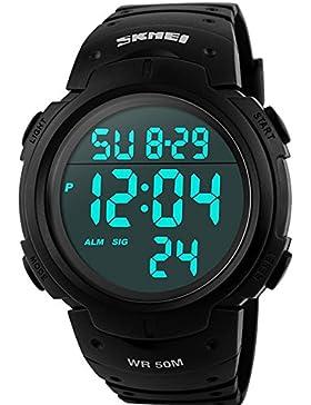 Pasutewel Herren Military Digital Armbanduhr Outdoor Sport wasserdicht Big Zifferblatt Uhren für Männer mit Gummi...