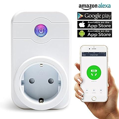 WiFi Prise, Smart intelligente WiFi Prise de Télécommande Prise Fonctionne avec Amazon Alexa (Echo, Echo Dot) Google Home sans fil Smart Home Télécommande avec fonction Timing Pour appareils Apple iPhone et Android