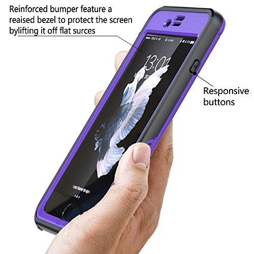 iPhone 7 Plus Wasserdichte Hülle, FindaGift IP68 Outdoor Handyhülle Full Sealed Tasche Case Ultra dünn Full Body Staubdicht Stoßfest Schneedicht Anti-Kratzer Underwater Schutzhülle mit Displayschutzfo Lila