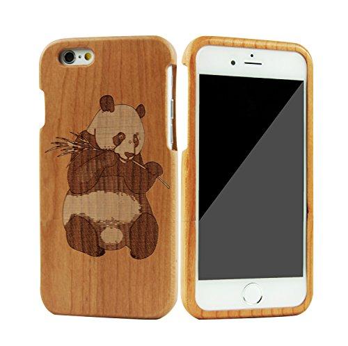 SunSmart Einzigartigen, handgefertigten Original Natural Wood Holzfest Bambus Case/Hülle/Tasche für iPhone 6 4.7''(maske) Panda Kirsche