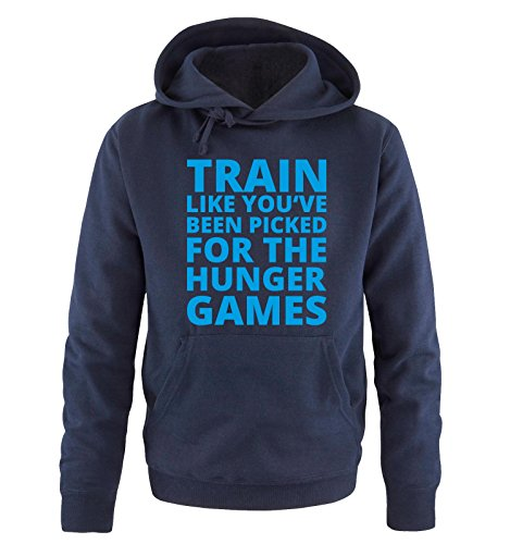 Comedy Shirts - Train like you've been picked for the HUNGER GAMES - Herren Hoodie - Navy / Blau Gr. XXL