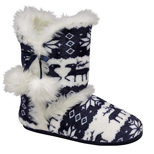 5aabfd6f0f1d3e Womens Annabelle Gretel Farrah Fairisle DUNLOP Fluffy Warm Knitted Slipper  Boots (LADIES UK 5/6, ADELPHE Navy) - Buy Online in Oman.