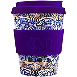 Ecoffee Cup Bamboo - 340 ml William Morris Peacock With Dark Purple Silicone
