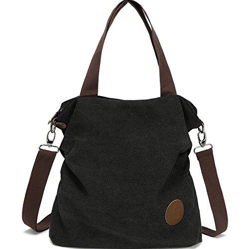 Hozee Damen Canvas Handtasche - Umhängetasche Henkeltasche Schultertasche Messengertasche Crossover Bag für Mädchen Schule Frauen Shopper Schule Einkäufe