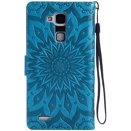 Für Huawei Mate 7 Fall, Prägen Sonnenblume Magnetische Muster Premium Soft PU Leder Brieftasche Stand Case Cover mit Lanyard & Halter & Card Slots ( Color : Purple ) Blue