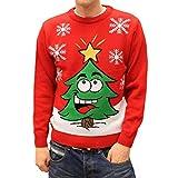 Weihnachtspullover Weihnachten Herren Damen Unisex mit lachendem Weihnachtsbaum Rot S