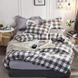 Wangji Bettwäsche Baumwolle gewaschen Baumwolle dreiteilige eine Bettbezug Zwei Kissenbezug grau weißes Quadrat, 2.0MX2.3M