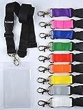 1 Stück unbedrucktes Schlüsselband inkl. Ausweishülle Kartenhalter aus Weich PVC Schlüsselband Lanyard neutral ohne Druck 20 mm breit, Steckverschluss Sicherheitsverschluss verschiedene Farben Ausweishülle Hochformat (rot)