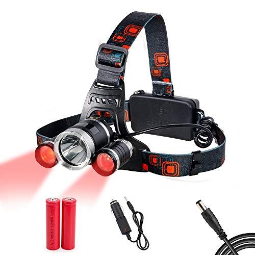 Linterna Frontal LED Recargable, con Luz Roja (1 Cree T6 Blanco + 2 R2 Roja Luz) 4 Modos Potentes 4000 Lúmenes Linterna Cabeza, Bueno para Pescar, Correr, Acampar