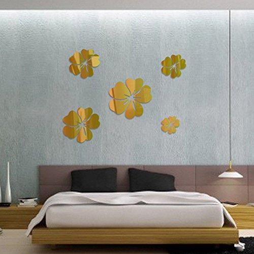 Huaya Wand Aufkleber 3D Spiegel Blumen Kunst Abziehbild Zuhause Dekor Abnehmbar -
