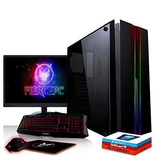 Fierce Phoenix RGB Gaming PC Bundeln - Schnell 4.0GHz Quad-Core AMD Ryzen 3 2300X, 2TB HDD, 16GB 2666MHz, AMD Radeon RX 550 2GB, Windows 10, Tastatur (VK/QWERTY), Maus, 21.5-Zoll-Monitor 518276