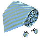 Blue Green Striped Men Ties Birthday Gift Mens Accessories Silk Neck Tie Cufflinks Set A1049 One Size Green