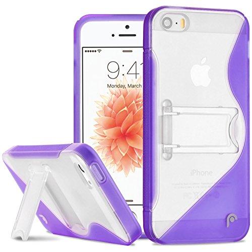 Fosmon HYBO-SK Hybride PC + TPU Case Cover hülle mit Stund für iPhone 5 / 5s / SE - Schwarz violett