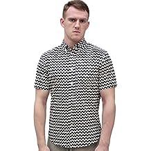 uxcell Men Allover Zigzag Pattern Patch Pocket Short Sleeve Button Down Shirt