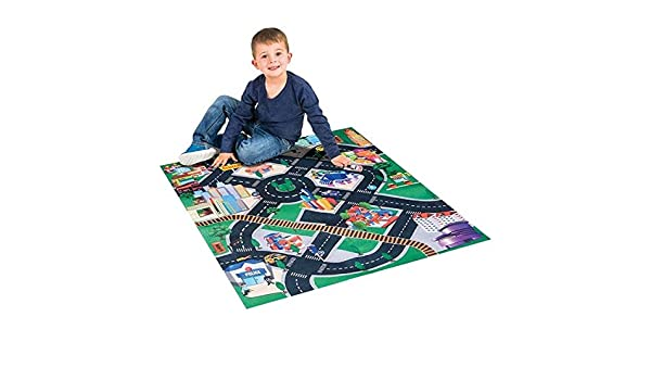 Children Educational Road Traffic Play Mat Srenta 32 x 28 Race Car Carpet Floor Play Mat and Car Set Great for Playing with Cars and Toys
