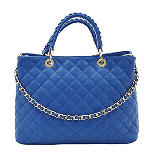 CHIC Sac Porté Main Épaule Femme Shopper Vrai Cuir Fabriqué en Italie Qualité Bleu