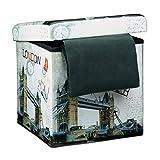 Relaxdays Faltbarer Sitzhocker 38 cm stabiler Sitzwürfel mit trendigen Motiven als praktische Fußablage als Sitzwürfel mit bedrucktem Kunstleder als Aufbewahrungsbox mit Stauraum und Deckel, London