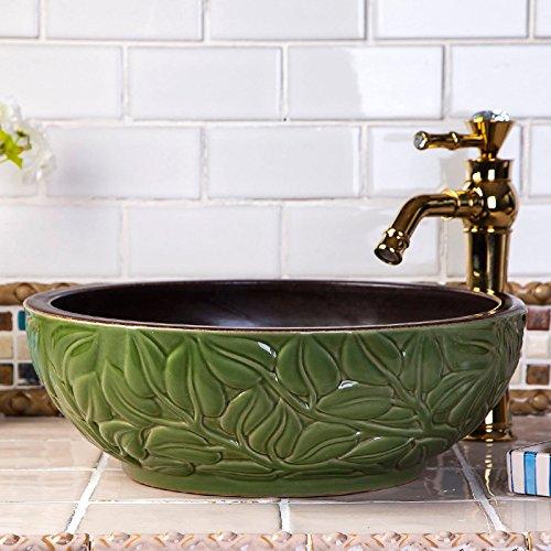 Vaso bagno lavandino arte Lavabo,Arte Ceramica bacino bacino Hotel Lavandini cinese sculture classica tavola rotonda 41*15cm