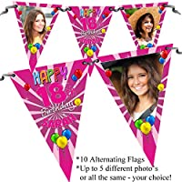 Personalised Happy Birthday Party PHOTO Flag Banner Bunting Pink Blast N88 - 10 Flags inc ribbon 16th 18th 21st 30th 40th 50th ANY AGE!