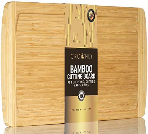 Crownly bambù tagliere W/Scanalatura | Premium Quality Kitchen tagliere | extra large 45x 30x 2(cm) | (Butcher Block), ideali per carne verdura e frutta | vassoio da portata in legno