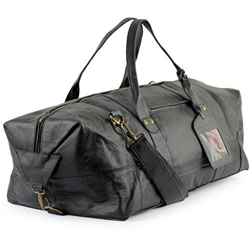 A.P. Donovan - Sport-Tasche für Herren aus Leder - ideal auch zum verreisen, Tennis, Fitness - mit Schultergurt - sehr groß - 65cm - Schwarz