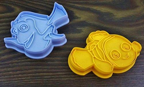 GKA 3D 2er Set Backform Disney Fische Nemo Plätzchenform Pralinenform Fondant Schokoladenform Form für Kinder Backen Seife Pralinen Fondant Schokolade