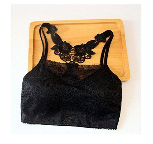 Distinct® Donne Reggiseno imbottito in pizzo Crop Top Gym Fitness Vest Serbatoi tempo libero Biancheria intima (nero)