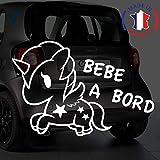 Sticker bébé à bord pour voiture Licorne 20 cm Blanc - Anakiss