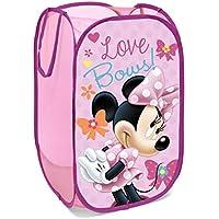Superdiver Cesta plegable infantil de tela con asas para ropa sucia y juguetes, diseño Minnie Mouse de Disney 36x36x58 centímetros color rosa