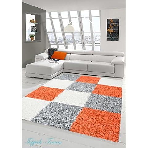 Lanuda alfombra lanuda largo pelo de la alfombra alfombra de la sala con dibujos en Karo Diseño gris crema de naranja Größe 200 x 290
