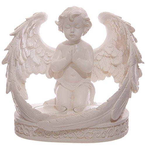 Puckator che105-portacandele con cherubino in preghiera, per 2 candele resina, 18 x 14 x 16 cm