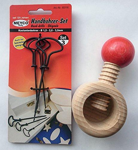 1x Meyco Handbohrer, Kastanienbohrer-Set (Nussknacker), Durchmesser 1,5 - 2,0 - 3,0 mm mit Kastanien Halter Holz 1 Stück (Durchmesser innen 4 cm, Außenmaße Durchmesser 6 cm x 10,5 cm)