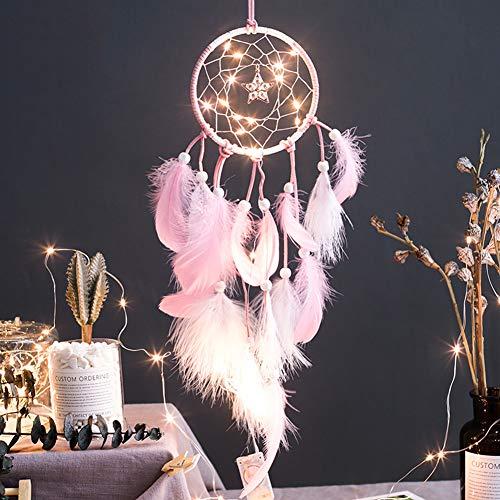 Smoro Feder Traumfänger Mobile LED Lichterketten batteriebetriebene hängende Ornamente rosa Getaucht Glitzerfedern böhmischen Hochzeitsdekorationen, Boho chic, Kinderzimmer Dekor (Batteriebetriebene Mobile)