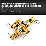 MachinYesell 4pcs métal Forte Aimant magnétique Stealth RC Voiture Shell Colonne Post pour 1:10 Traxxas Hsp Corps Invisible Post Mount Clips de Montage Or
