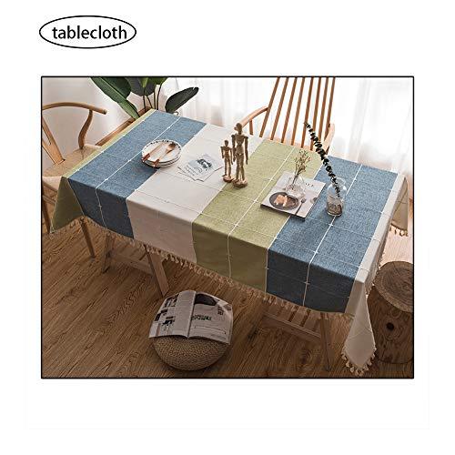 htuch Leinen Spitze Tischdecke Rechteckige Tischdecken Speisetisch-Abdeckung (Blau Und Grün Kariert) ()