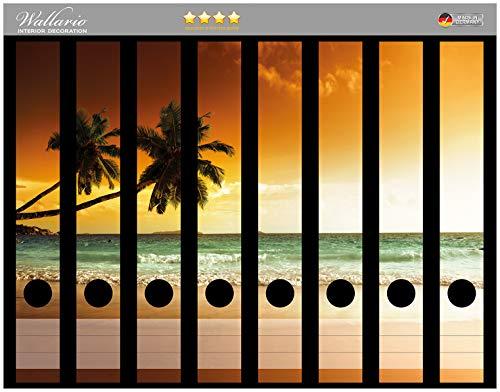 Wallario Ordnerrücken Sticker Palmen am Sandstrand bei untergehender Sonne in Premiumqualität - Größe 8 x 3,5 x 30 cm, passend für 8 Schmale Ordnerrücken
