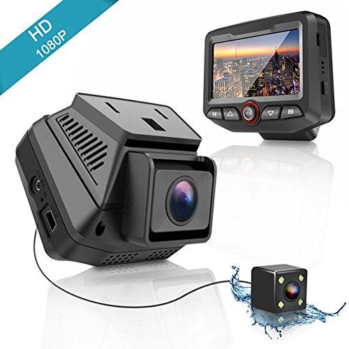 OTHA Autokamera Full hd Dash Kamera Auto 1080P Dashboard Digitalen Fahr Video Recorder DVR mit Vorne und Hinten Einstellbares Objektiv 170° 2.45