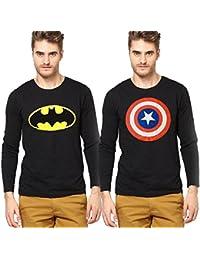 Smartees Cotton Batman & Captain America Printed Tshirt For Men Combo Pack Of 2