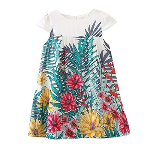 LEXUPE Kleidung Kinder Kinder MäDchen Sleeveless Tanzparty Blumendruck Princess Dress Clothes