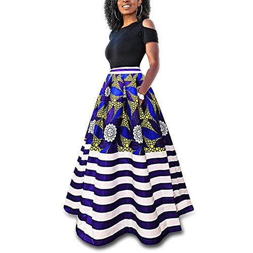 CZ Damen Vintage afrikanischen Blumendruck eine Linie langen Rock Taschen zwei Stücke Maxi Party Urlaub Kleid (Streifen, S)