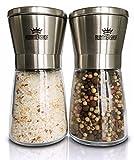 Salz und Pfeffermühle Set  Design Duo manuelle Salz und Pfeffer Mühlen mit Keramikmahlwerk  Kombi Gewürzmühle aus Edelstahl  Kräutermühle  Salzmühle für Meersalz