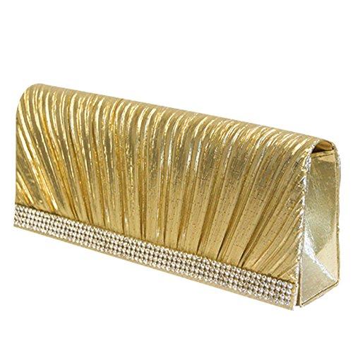 Easy4fashion, Poschette giorno donna Multicolore Gold (Faltenwurf) Gold (Faltenwurf)